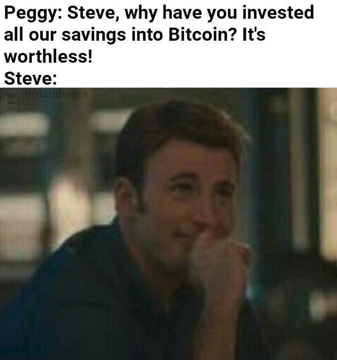 Steve Rogers/Captain America memes investing in Bitcoin