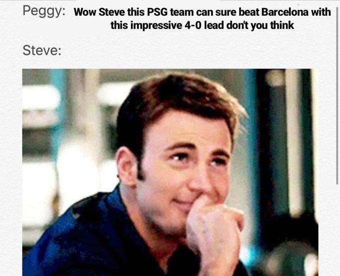 Steve Rogers/Captain America memes PSG team and barcelona