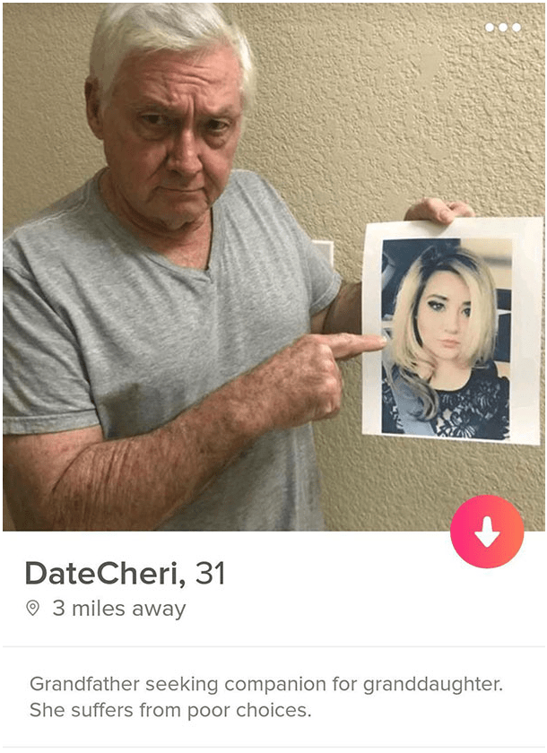 funny meme - Face - DateCheri, 31 3 miles away Grandfather seeking companion for granddaughter. She suffers from poor choices.