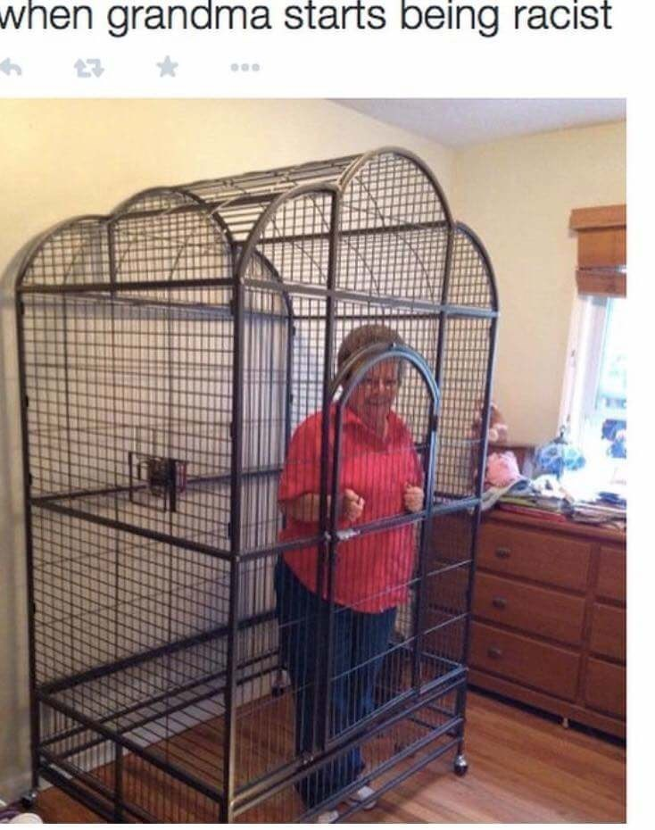funny meme - Cage - when grandma starts being racist