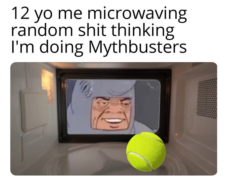 "Caption that reads, ""12-year-old me microwaving random shit thinking I'm doing Mythbusters"" above an image of a cartoon character microwaving a tennis ball"