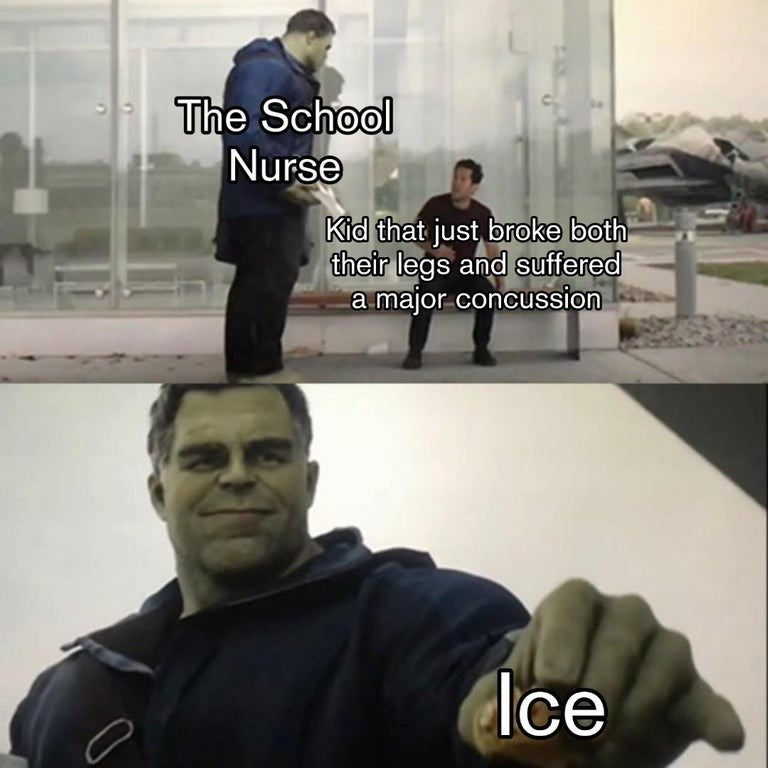 Avengers meme about the school nurse handing a student who just had a concussion some ice