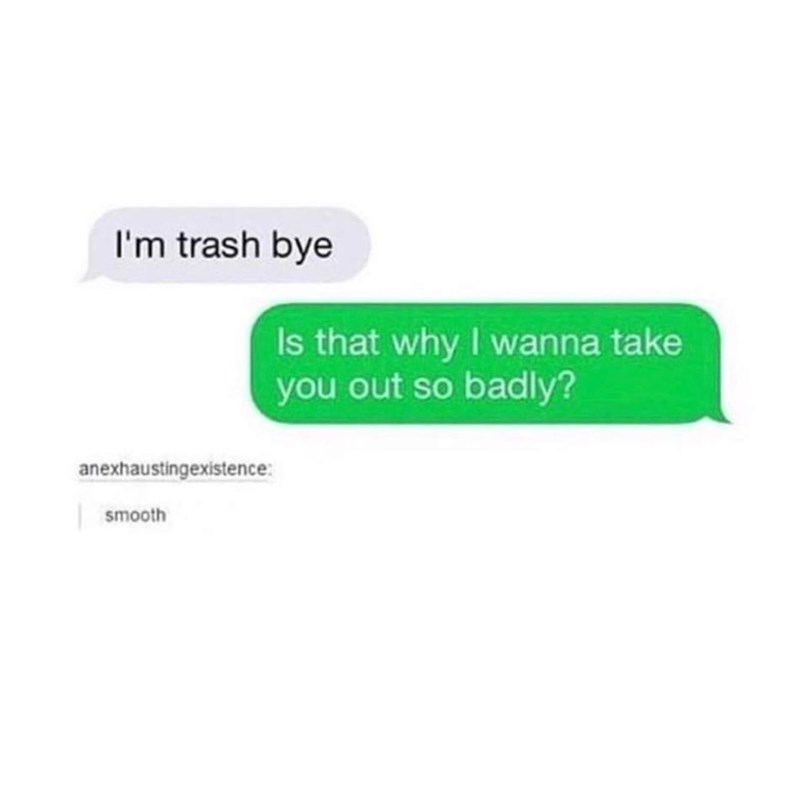 funny meme - Text - I'm trash bye Is that why I wanna take you out so badly? anexhaustingexistence smooth