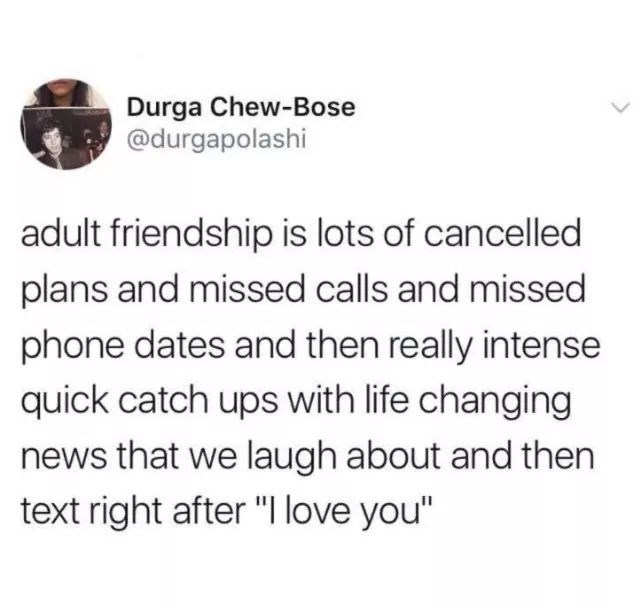 Funny tweet about adult friendships