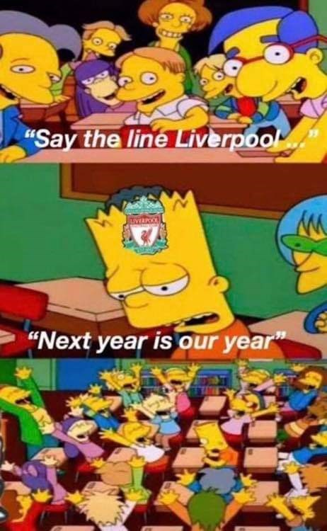 """meme - Animated cartoon - """"Say the line Liverpool """"Next year is our year"""""""