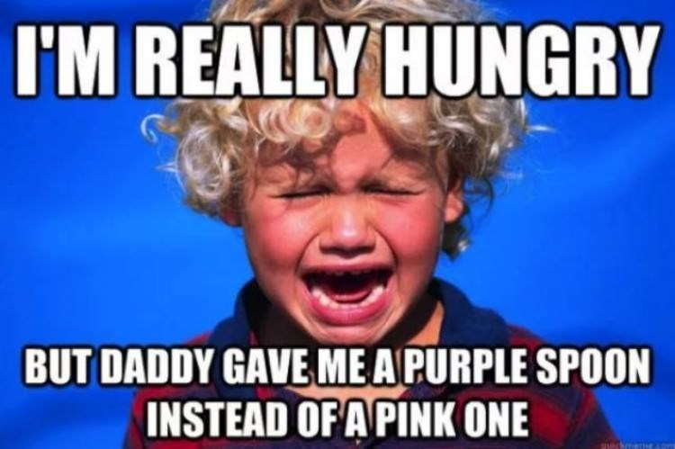 meme - Facial expression - I'M REALLY HUNGRY BUT DADDY GAVE ME APURPLE SPOON INSTEAD OF A PINK ONE