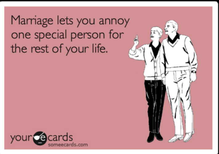 meme - Text - Marriage lets you annoy one special person for the rest of your life. your ecards someecards.com