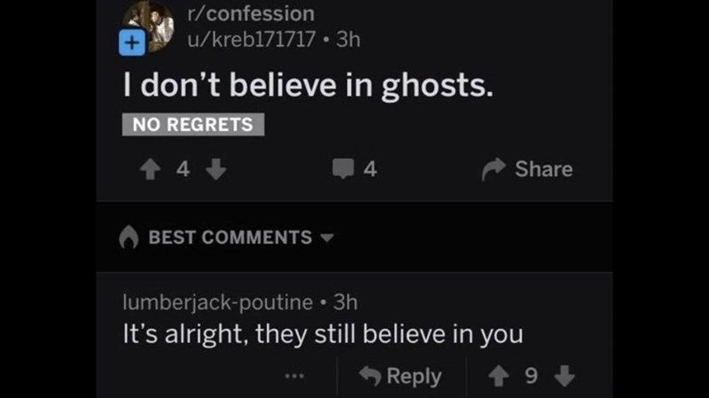 Funny Reddit post where someone says they don't believe in ghosts and another person comments that it's okay because ghosts believe in them