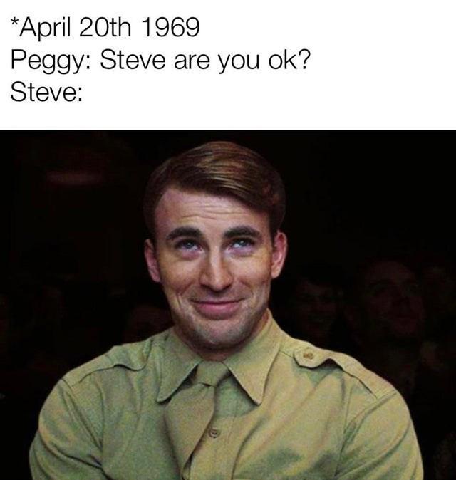 Funny Steve Rogers Going Through Time memes, Chris Evans, Captain America, Avengers: Endgame