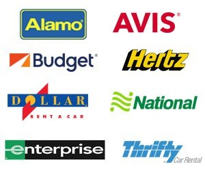a white page showing the different logos for car rental companies in New York