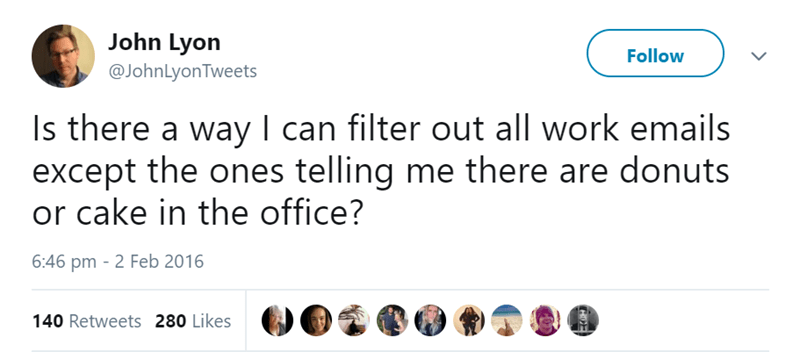Text - John Lyon @JohnLyonTweets Follow Is there a way I can filter out all work emails except the ones telling me there are donuts or cake in the office? 6:46 pm 2 Feb 2016 140 Retweets 280 Likes