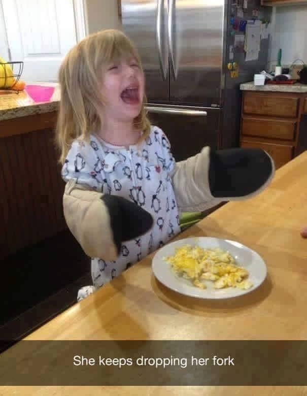 toddler years - Food - She keeps dropping her fork