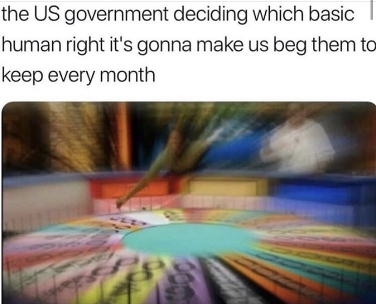 funny meme - Text - the US government deciding which basic human right it's gonna make us beg them to keep every month CO