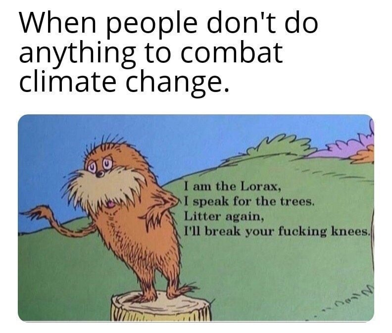 funny meme - Text - When people don't do anything to combat climate change. I am the Lorax, I speak for the trees. Litter again, I'll break your fucking knees.