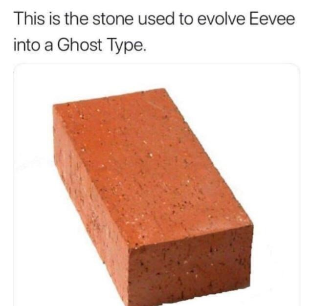 funny meme - Brick - This is the stone used to evolve Eevee into a Ghost Type