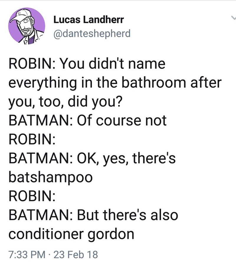 funny meme - Text - Lucas Landherr @danteshepherd ROBIN: You didn't name everything in the bathroom after you, too, did you? BATMAN: Of course not ROBIN: BATMAN: OK, yes, there's batshampoo ROBIN: BATMAN: But there's also conditioner gordon 7:33 PM 23 Feb 18