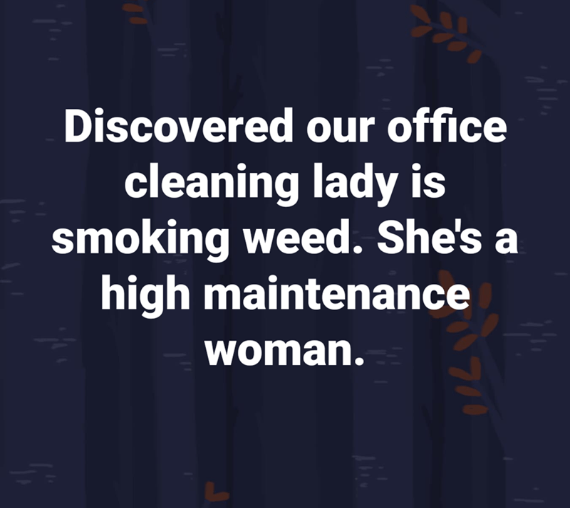 Text - Discovered our office cleaning lady is smoking weed. She's a high maintenance woman. 7/0