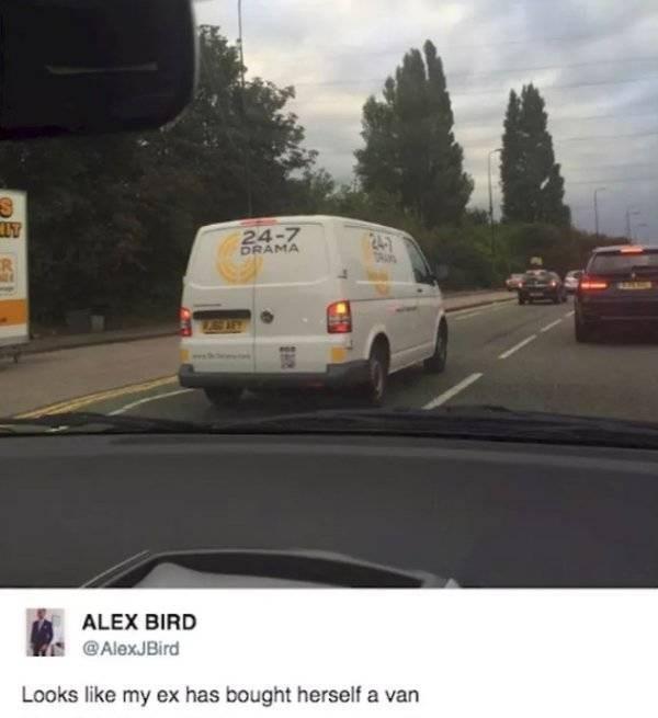 Land vehicle - 24-7 DRAMA TRA R ALEX BIRD @AlexJBird Looks like my ex has bought herself a van
