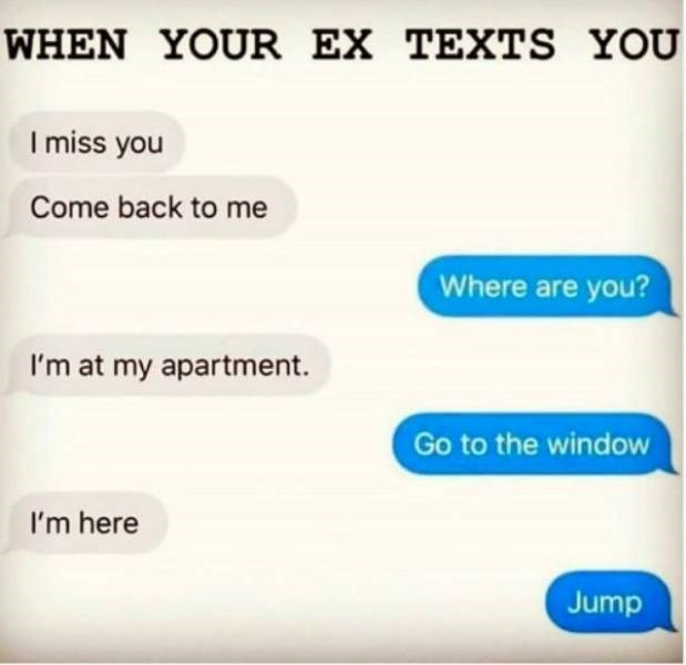 Text - WHEN YOUR EX TEXTS YOU I miss you Come back to me Where are you? I'm at my apartment. Go to the window I'm here Jump