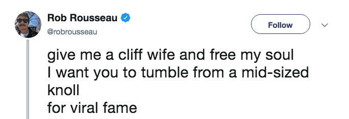 A tweet making fun of Cliff Wife with the lyrics from Drift Away by Uncle Kracker.