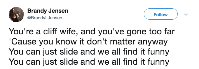 A tweet makes fun of Cliff Wife with more song lyrics.