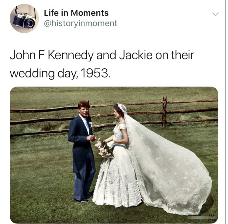 Interesting history photo - Photograph - Life in Moments @historyinmoment John F Kennedy and Jackie on their wedding day, 1953