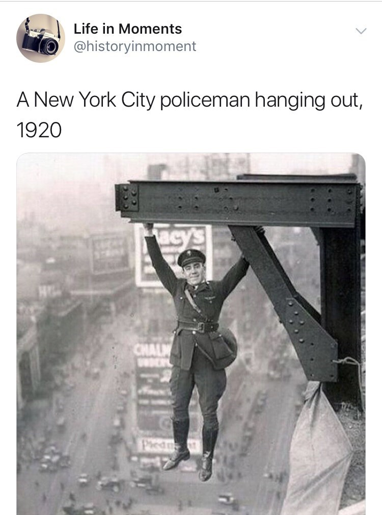 Interesting history photo - Text - Life in Moments @historyinmoment A New York City policeman hanging out, 1920 acy's CHALM Pied