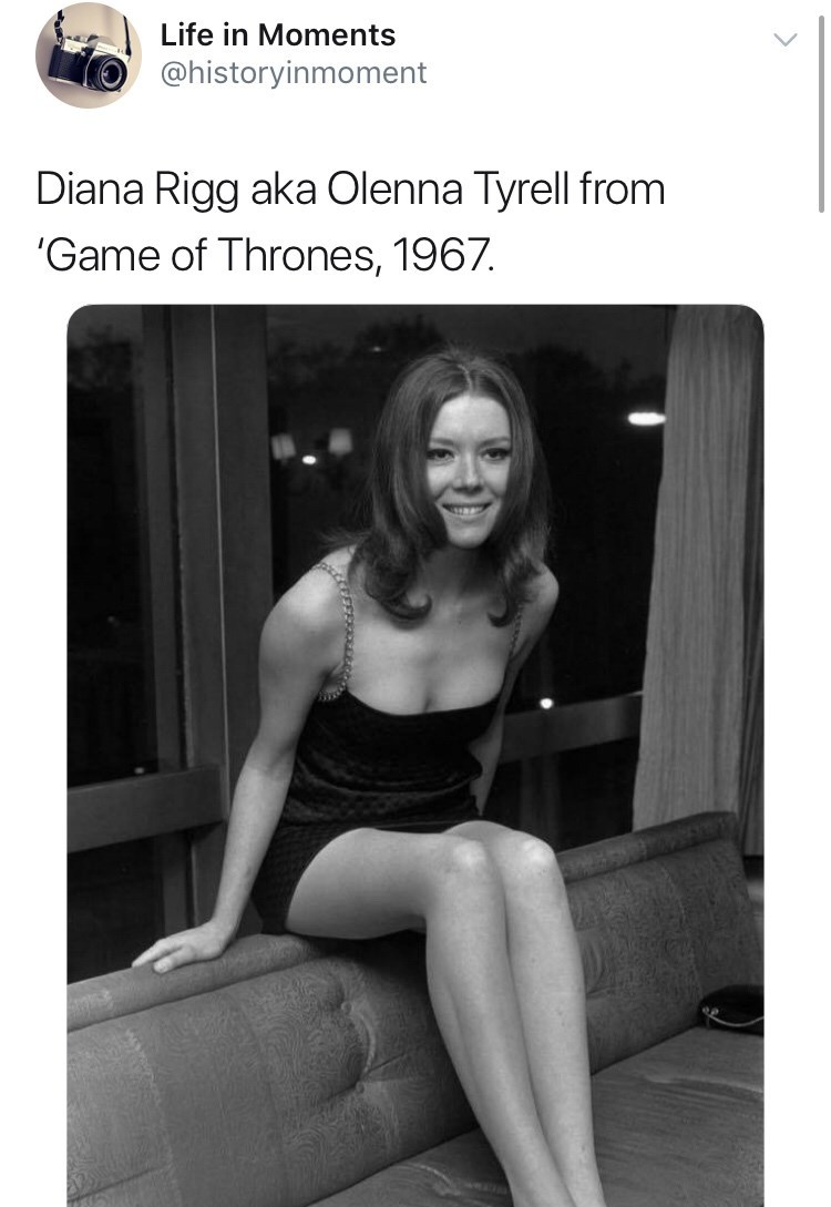 Interesting history photo - Photograph - Life in Moments @historyinmoment Diana Rigg aka Olenna Tyrell from 'Game of Thrones, 1967