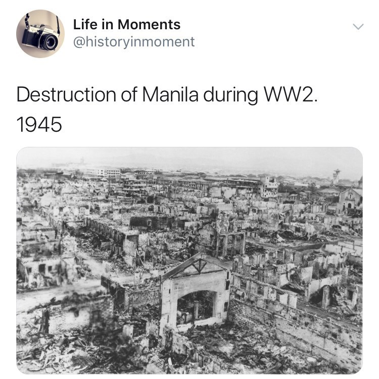 Interesting history photo - Text - Life in Moments @historyinmoment Destruction of Manila during WW2 1945