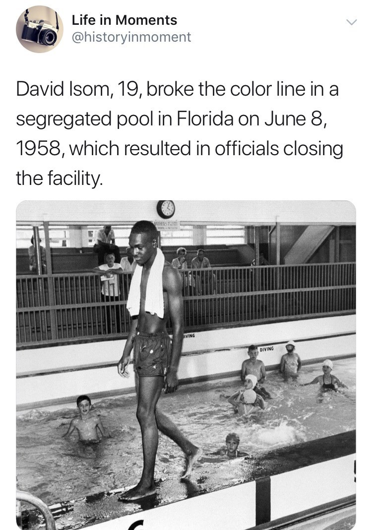 Interesting history photo - Swimming pool - Life in Moments @historyinmoment David Isom, 19, broke the color line in a segregated pool in Florida on June 8, 1958, which resulted in officials closing the facility. BAUHRS VING DIVING