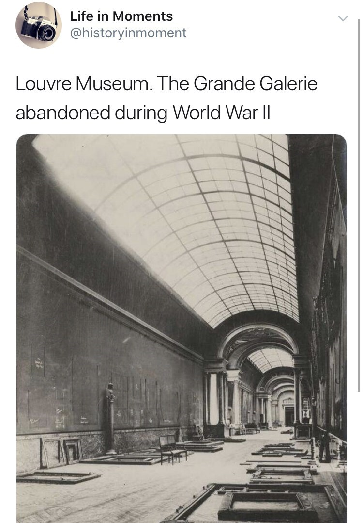Interesting history photo - Architecture - Life in Moments @historyinmoment Louvre Museum. The Grande Galerie abandoned during World War Il
