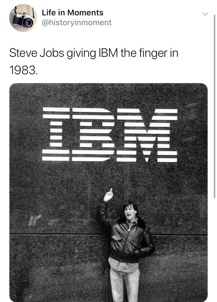 Interesting history photo - Photograph - Life in Moments @historyinmoment Steve Jobs giving IBM the finger in 1983 IBM