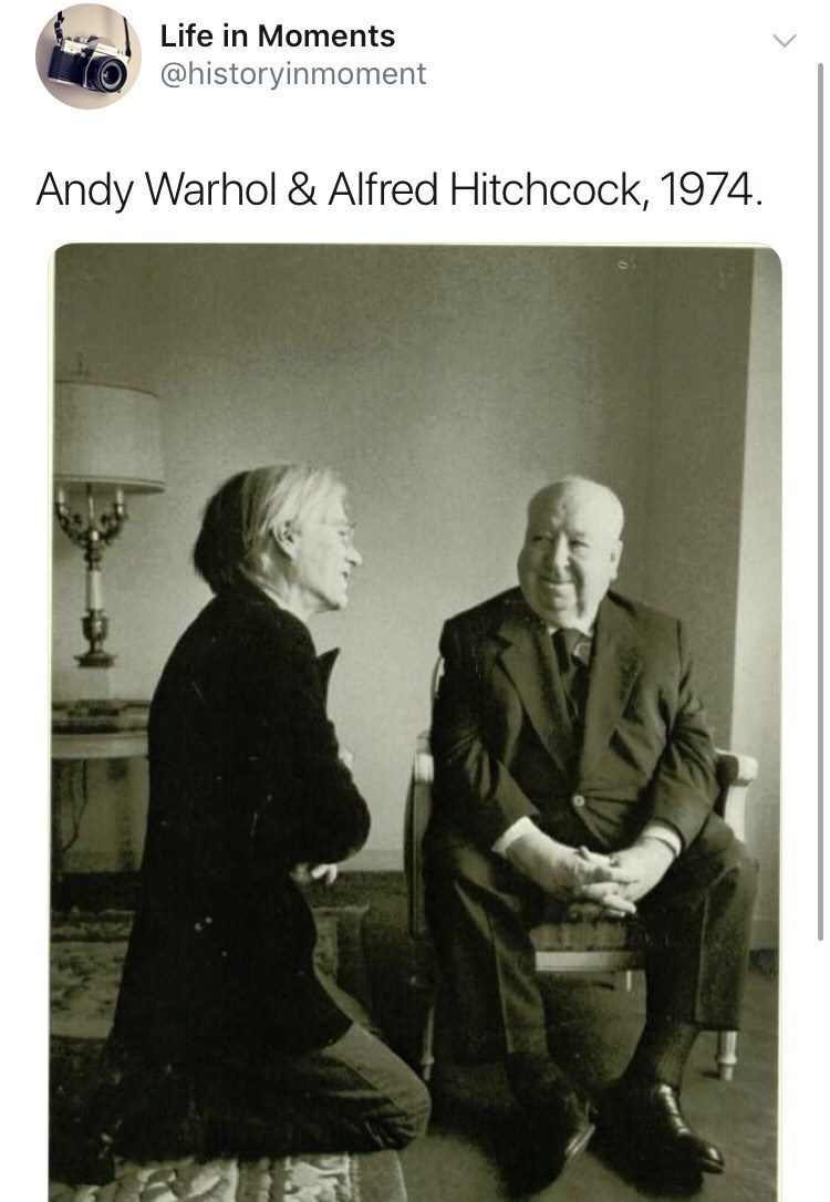 Interesting history photo - Photograph - Life in Moments @historyinmoment Andy Warhol & Alfred Hitchcock, 1974