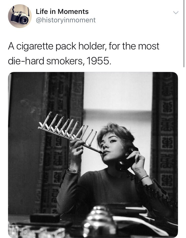 Interesting history photo - Musical instrument - Life in Moments @historyinmoment A cigarette pack holder, for the most die-hard smokers, 1955.