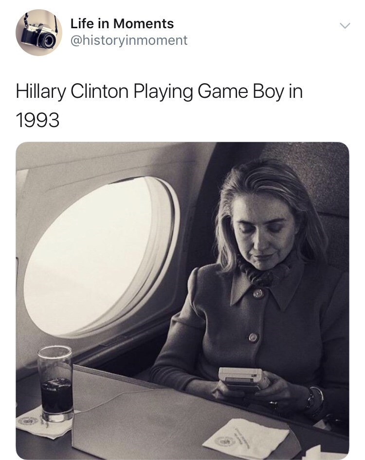 Interesting history photo - Product - Life in Moments @historyinmoment Hillary Clinton Playing Game Boy in 1993