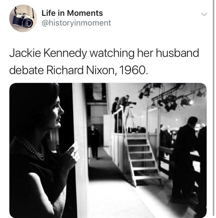 Interesting history photo - Photograph - Life in Moments @historyinmoment Jackie Kennedy watching her husband debate Richard Nixon, 1960