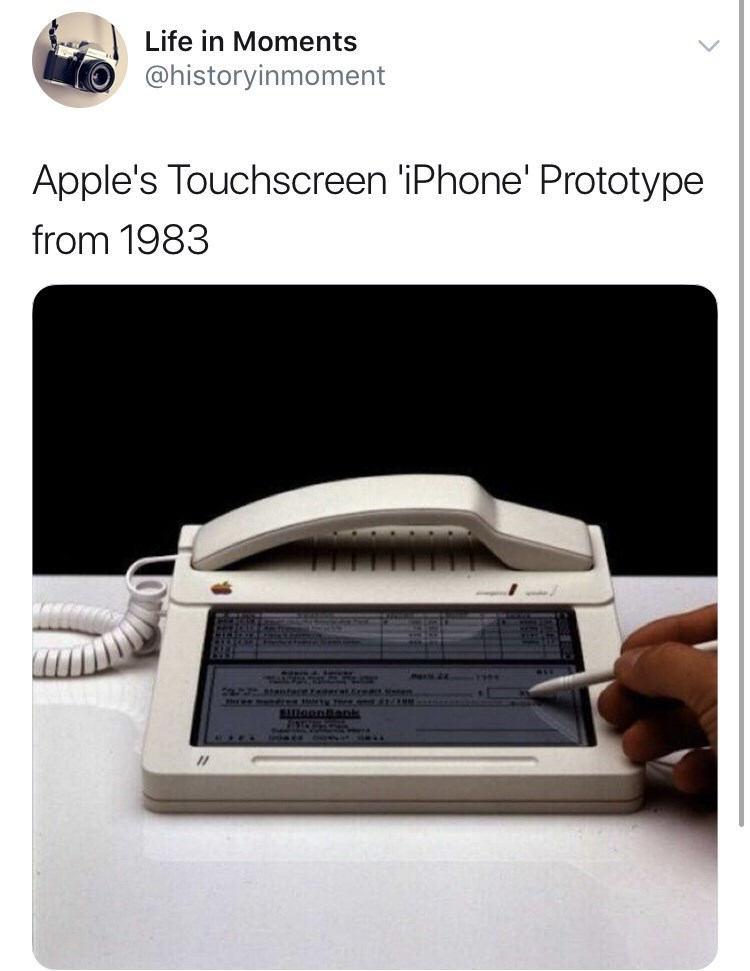 Interesting history photo - Technology - Life in Moments @historyinmoment Apple's Touchscreen 'iPhone' Prototype from 1983 fa otece. t.c en. oonepis