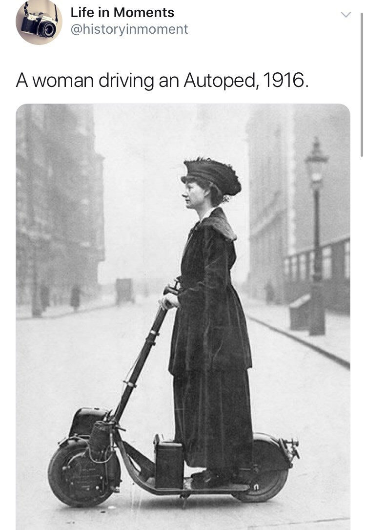 Interesting history photo - Vintage advertisement - Life in Moments @historyinmoment A woman driving an Autoped, 1916.