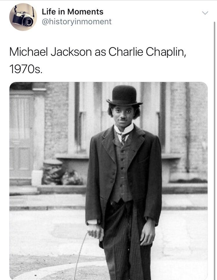 Interesting history photo - Photograph - Life in Moments @historyinmoment Michael Jackson as Charlie Chaplin, 1970s.