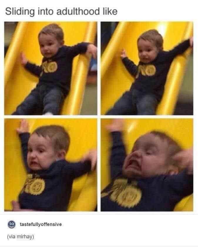 goofy meme - Facial expression - Sliding into adulthood like to tastefullyoffensive (via mirhay)