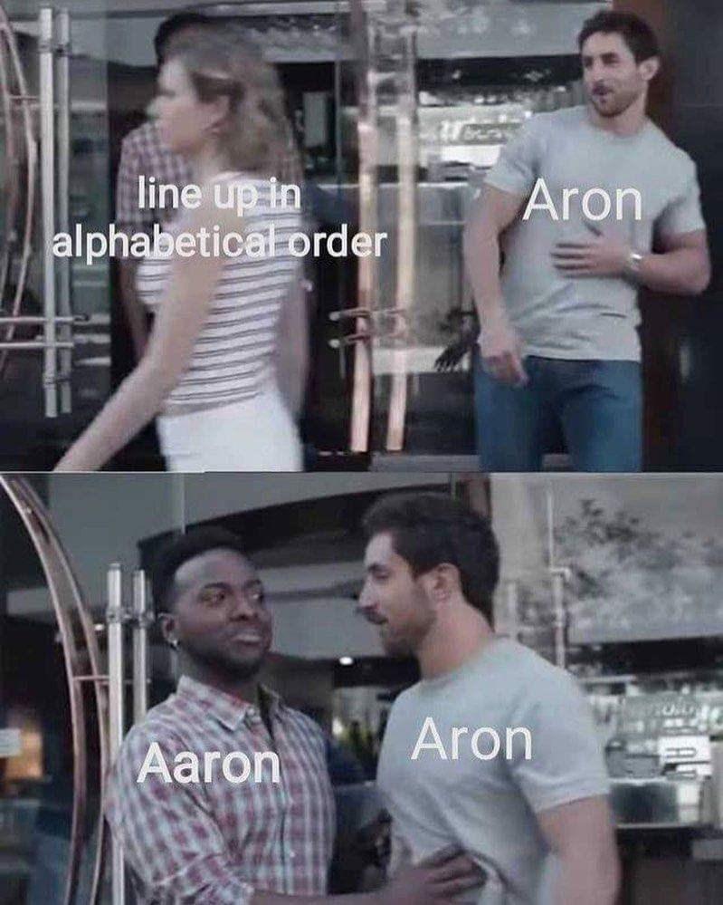 goofy meme - T-shirt - line up in alphabeticalorder Aron Aron Aaron
