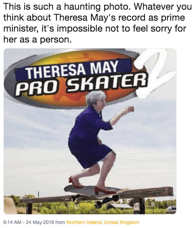 Funny 'This Is Such a Haunting Photo' meme - Theresa May, Tony Hawk