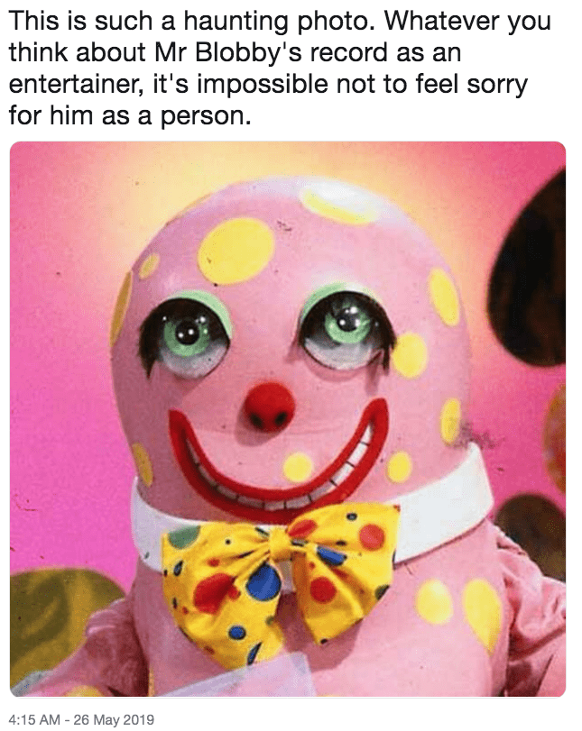 Funny 'This Is Such a Haunting Photo' meme - Mr Blobby