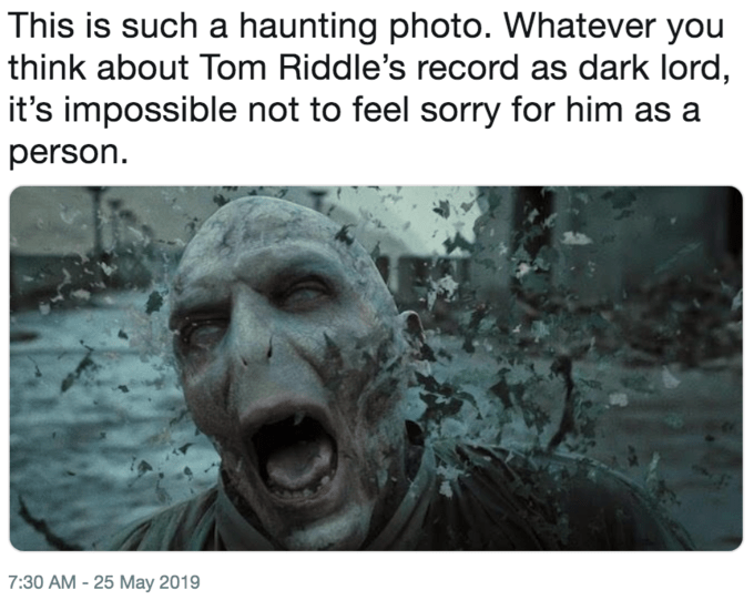 Funny 'This Is Such a Haunting Photo' meme - Voldemort, Harry Potter
