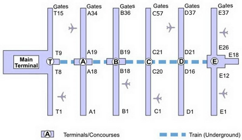 blue and white simplified map of the airport from above