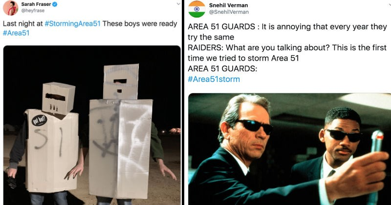"A collection of tweets from the ""Storm Area 51"" event today."