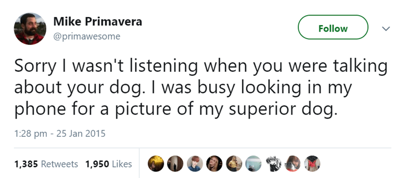 Text - Mike Primavera Follow @primawesome Sorry I wasn't listening when you were talking about your dog. I was busy looking in my phone for a picture of my superior dog. 1:28 pm 25 Jan 2015 1,385 Retweets 1,950 Likes