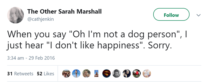 "Text - The Other Sarah Marshall Follow @cathjenkin When you say ""Oh I'm not a dog person"", I just hear ""I don't like happiness"". Sorry. 3:34 am - 29 Feb 2016 31 Retweets 52 Likes"