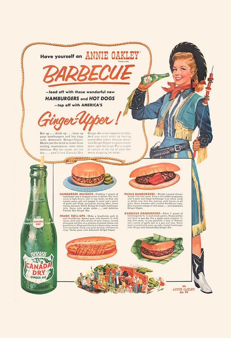vintage advertisement - Vintage advertisement - ANNIE OAKLEY Have yourself an ADA BARBECUE -lead off with these wonderful new HAMBURGERS and HOT DOGS