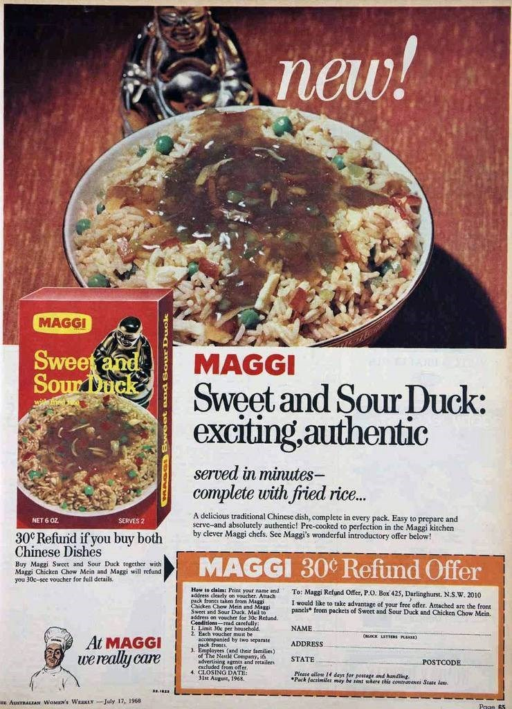 vintage advertisement - Dish - new! MAGGI Sweetand SourTnck MAGGI Sweet and Sour Duck: exciting.authentic served in minutes- complete with fried ric.. A delicious traditional Chinese dish, complete in every pack.